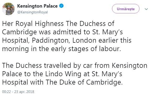 Kate Middleton se pregateste sa nasca! A fost dusa la spital luni dimineata (FOTO), Charmy